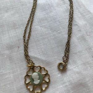 Petite vintage cameo drop necklace